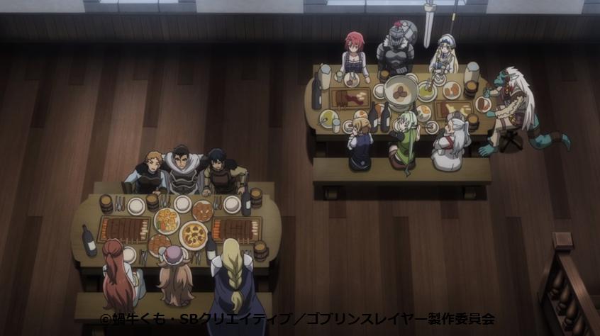 みんなで食事するシーン(ゴブリンスレイヤー10話)