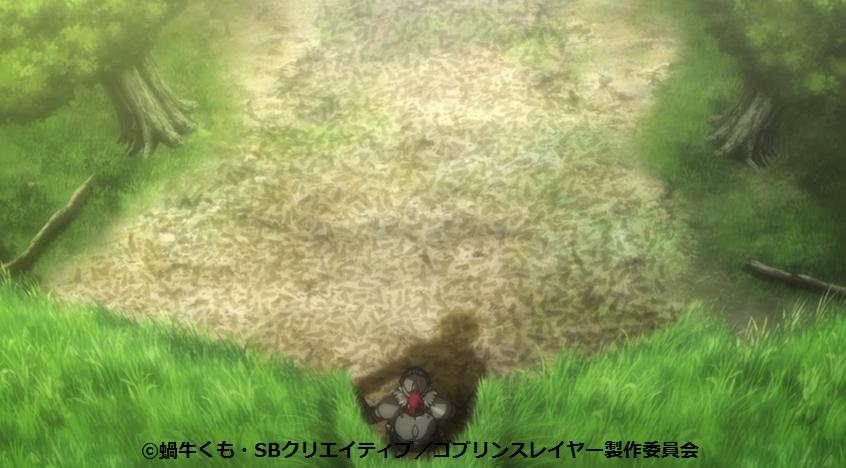 ゴブリンの足跡を見つけるゴブリンスレイヤー(10話)